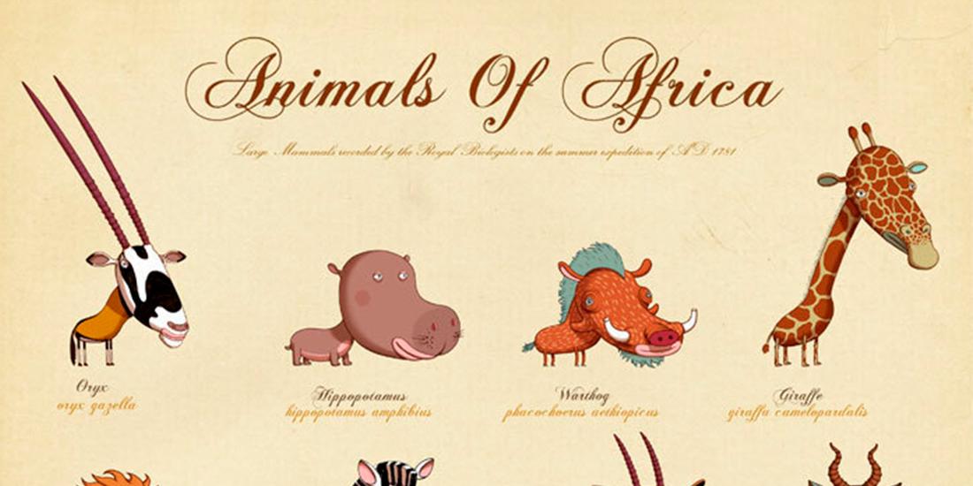 Postere jucause cu animale de pe mapamond