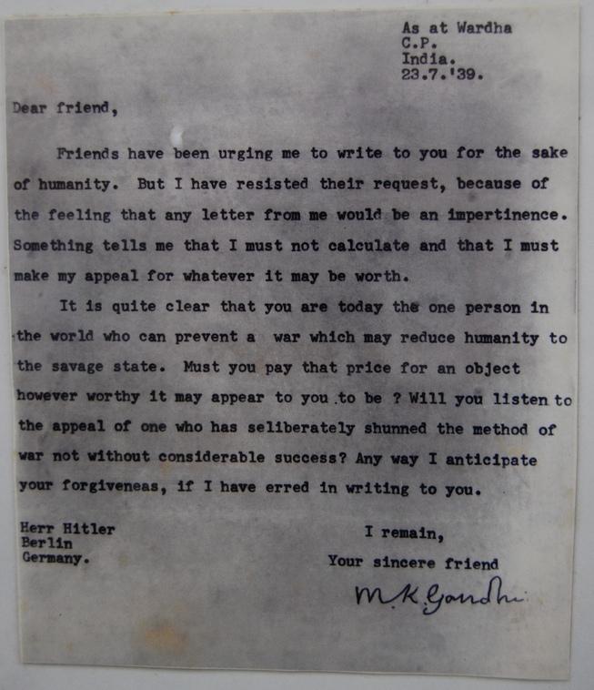 scrisoarea gandhi catre hitler