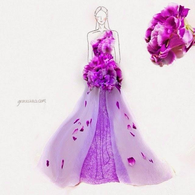 rochii desenate din petale