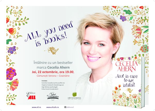 ALL you need is books! Intalnire cu un bestseller marca Cecelia Ahern