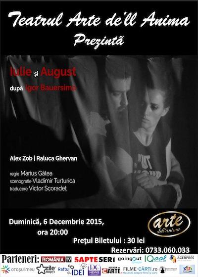 Spectacolele Saptamanii 30.11 – 06.12 la Teatrul Arte dell Anima