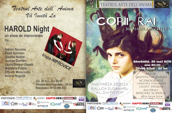 Program teatru Arte dell' Anima 26 - 28 mai