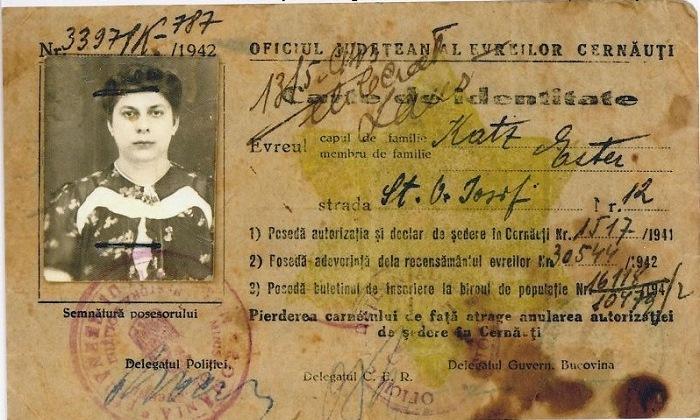 Autorizate de sedere a unui evreu in Cernauti oferita de Traian Popovici sub Antonescu