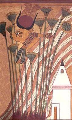 Hathor in forma de vaca, aratandu-si ochiul sacru – Papirusul Ani - mitologie egipteana, cultura generala