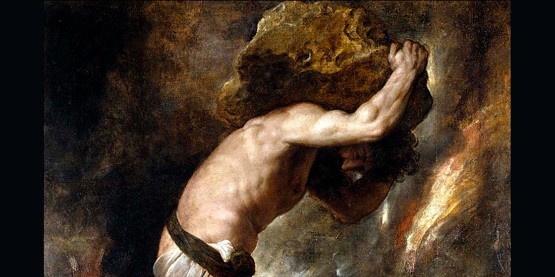 mitul lui Sisif - detaliu Pedeapsa lui Sisif de Titian